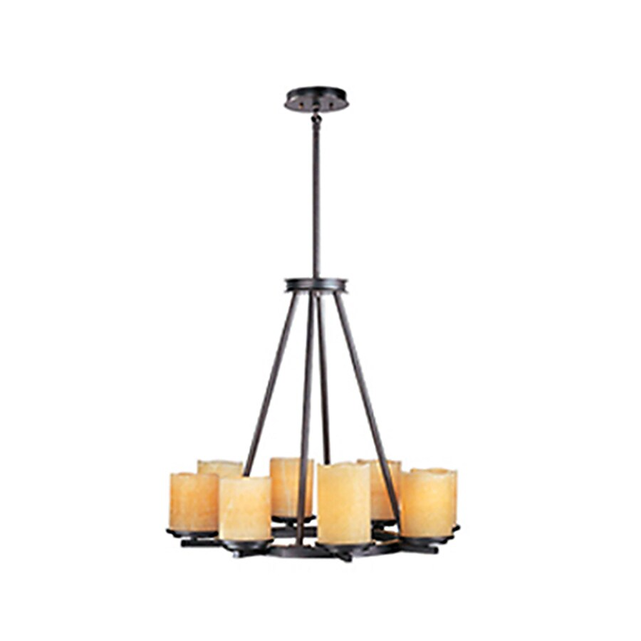 Pyramid Creations Luminous 28.5-in 8-Light Rustic Ebony Tinted Glass Chandelier