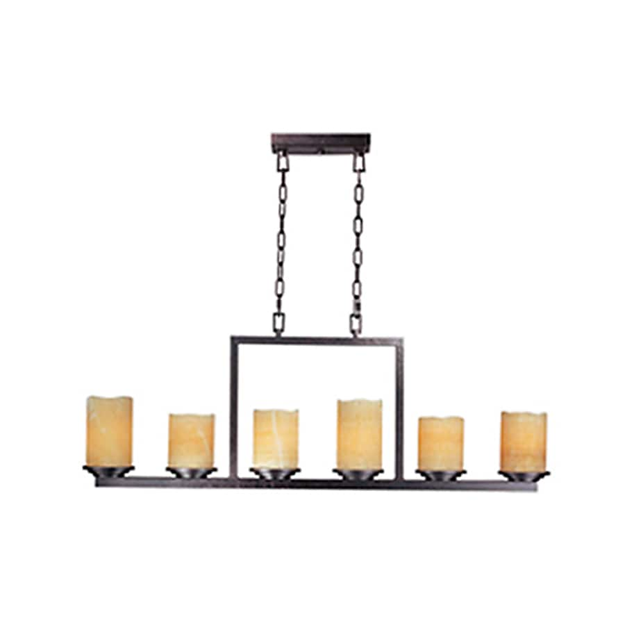 Pyramid Creations Luminous 5-in 6-Light Rustic Ebony Tinted Glass Chandelier