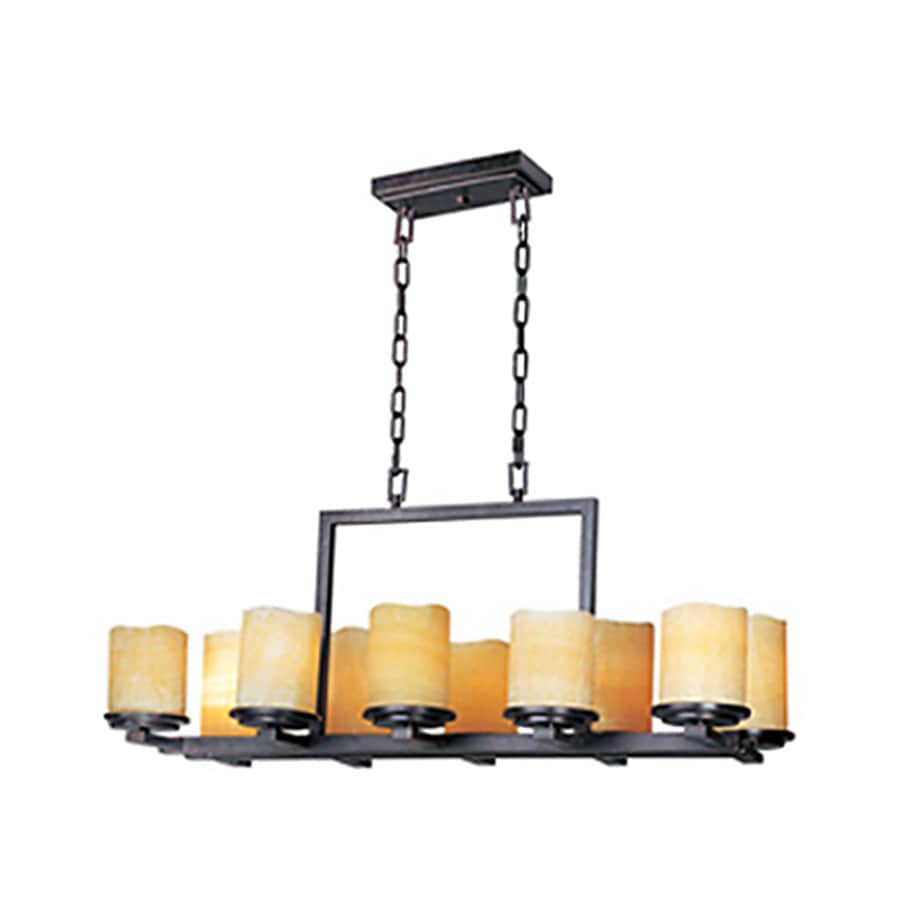 Pyramid Creations Luminous 16.5-in 10-Light Rustic Ebony Tinted Glass Chandelier