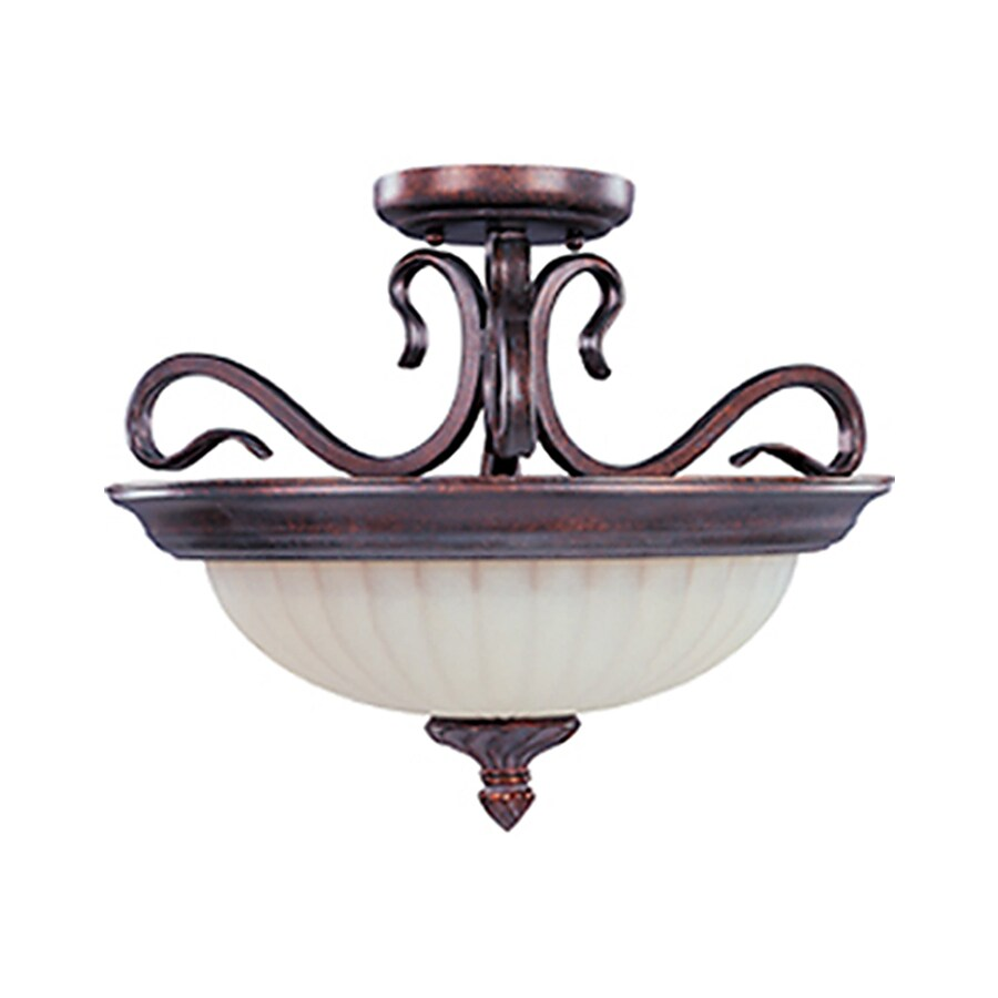 Pyramid Creations Via Roma 18-in W Greek Bronze Frosted Glass Semi-Flush Mount Light