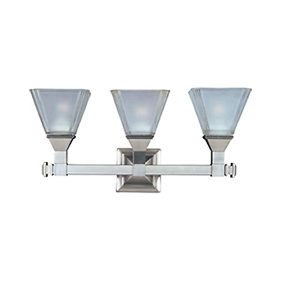 Pyramid Creations Brentwood 3-Light 9.5-in Satin Nickel Cone Vanity Light