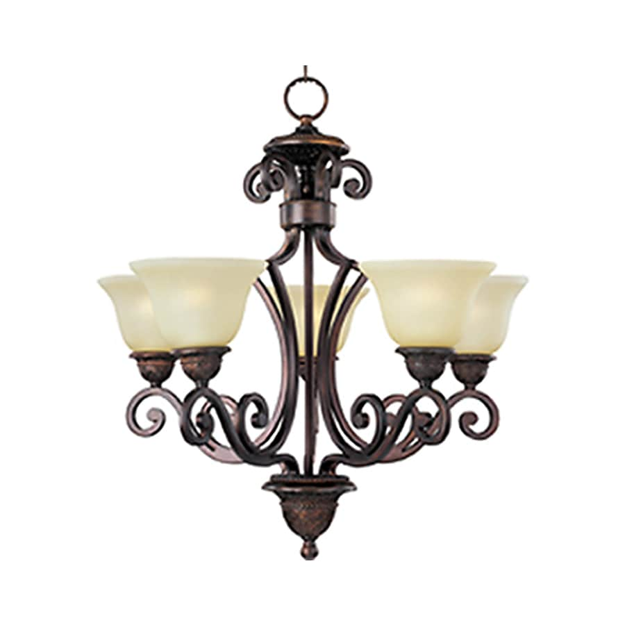 Pyramid Creations Symphony 26-in 5-Light Oil-Rubbed bronze Tinted Glass Chandelier