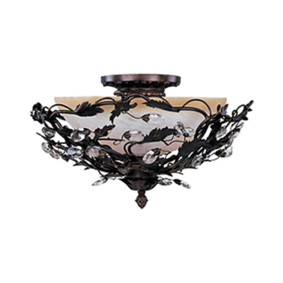 Pyramid Creations Elegante 16-in W Oil-Rubbed bronze Frosted Glass Semi-Flush Mount Light