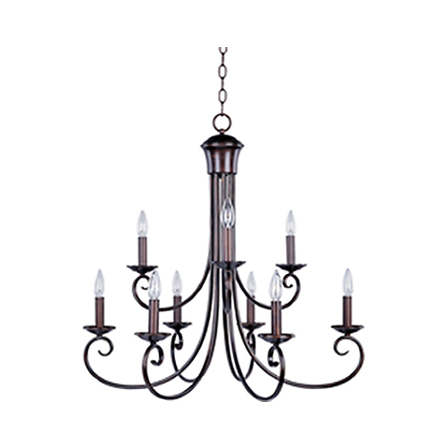 Pyramid Creations Loft 29.5-in 9-Light Oil-Rubbed Bronze Chandelier