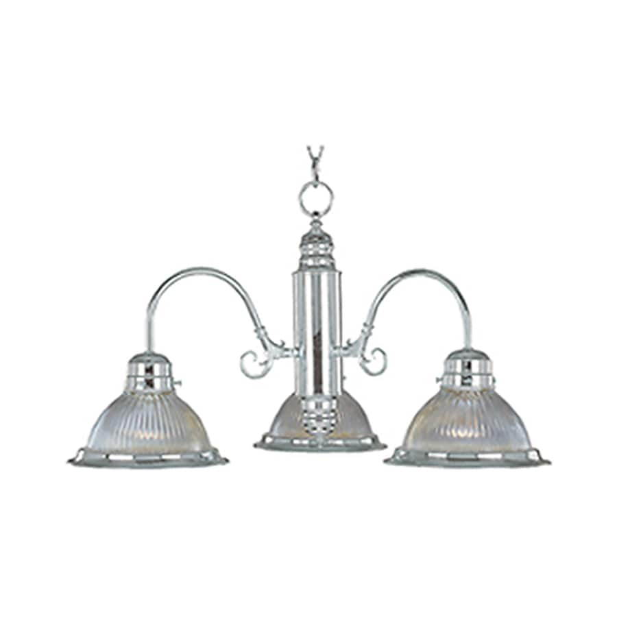 Pyramid Creations Builder Basics 22-in 3-Light Satin Nickel Ribbed Glass Chandelier