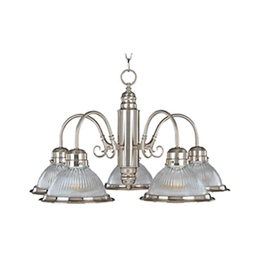 Pyramid Creations Builder Basics 24-in 5-Light Satin Nickel Ribbed Glass Chandelier