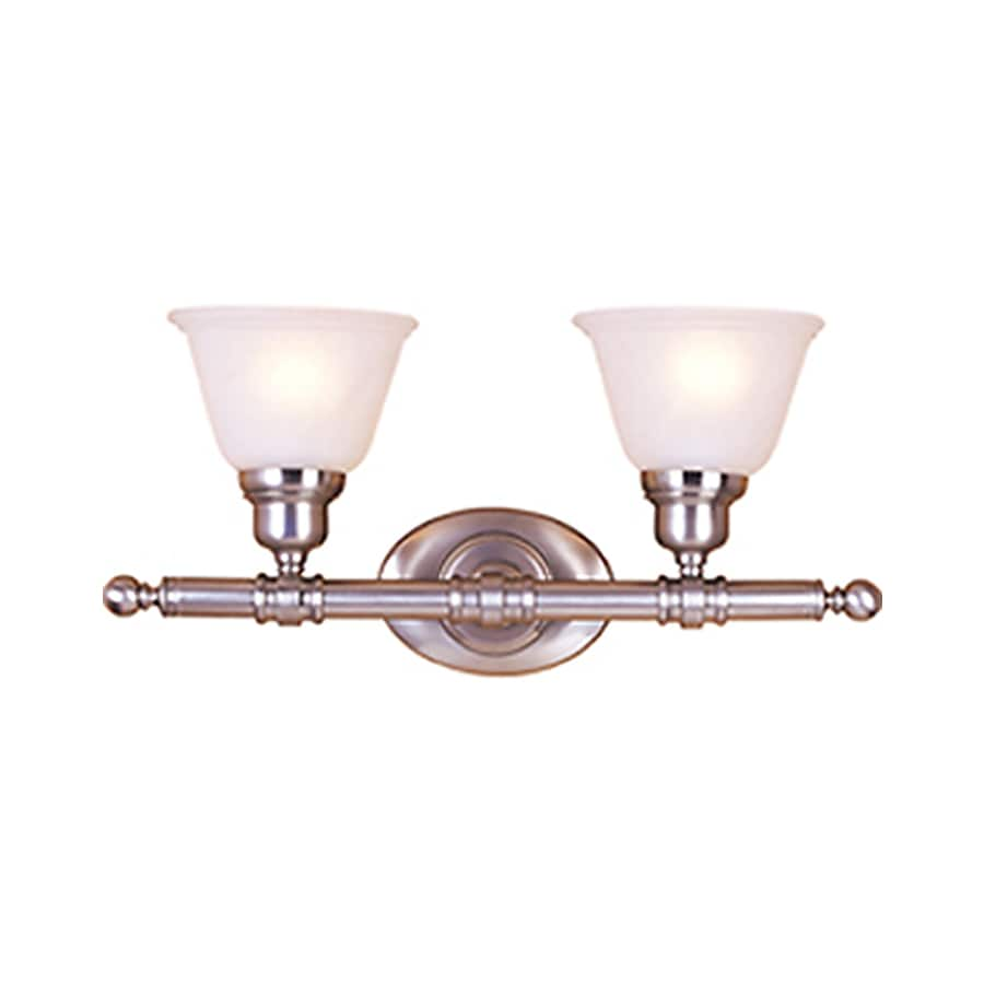 Pyramid Creations Essentialss 2-Light 9.5-in Satin nickel Bell Vanity Light