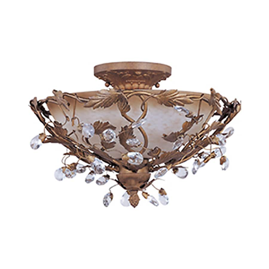 Pyramid Creations Elegante 16-in W Etruscan Gold Frosted Glass Semi-Flush Mount Light