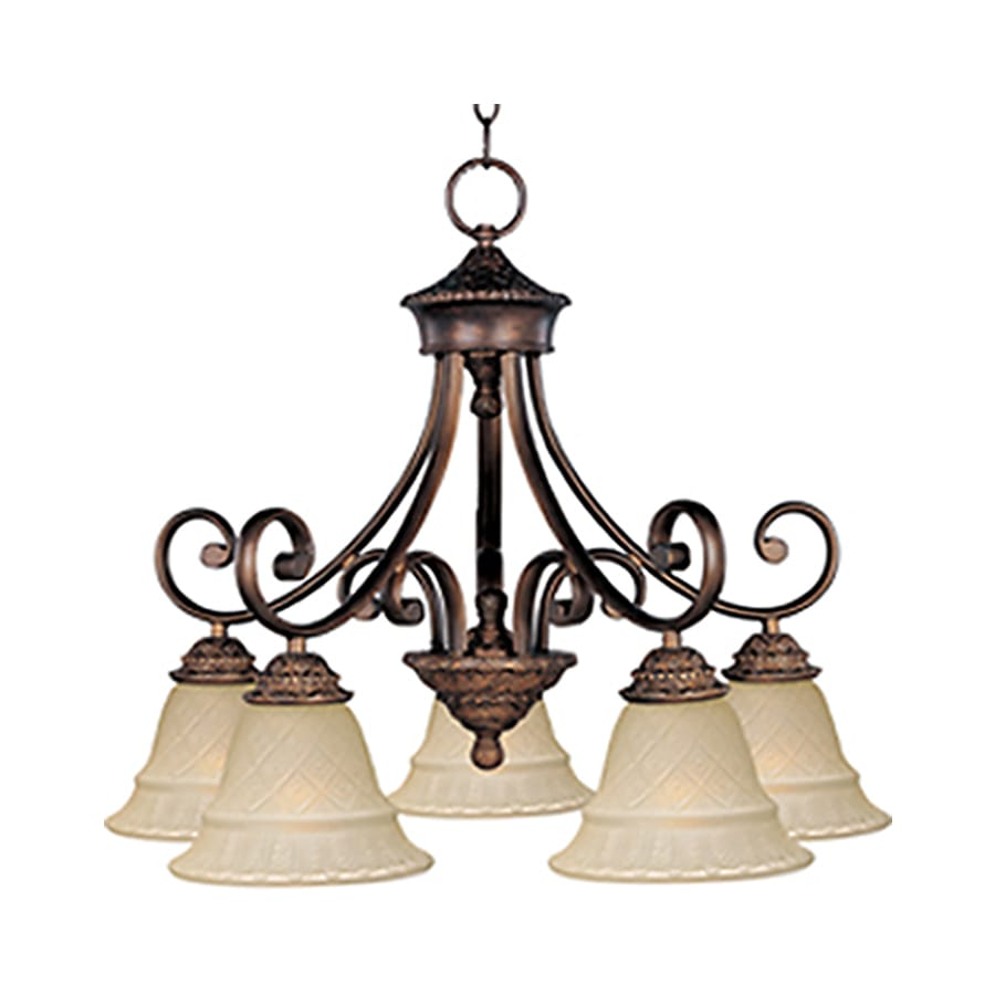Pyramid Creations Brighton 24-in 5-Light Oil-Rubbed Bronze Tinted Glass Chandelier