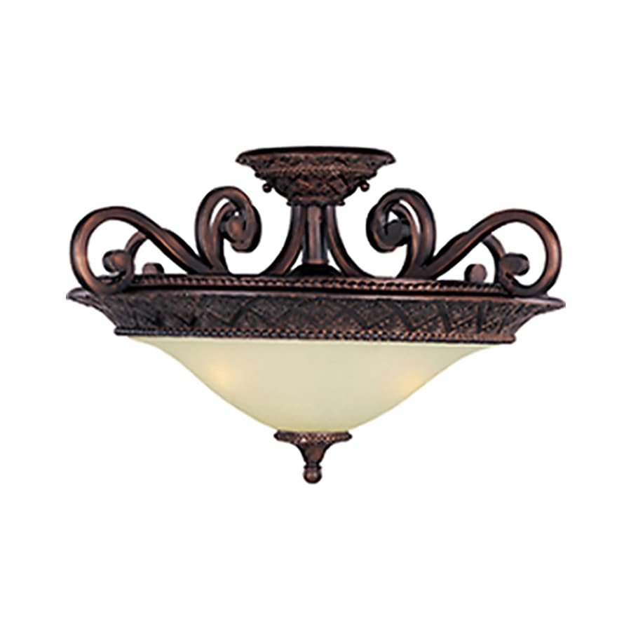 Pyramid Creations Symphony 22-in W Oil-Rubbed Bronze Frosted Glass Semi-Flush Mount Light