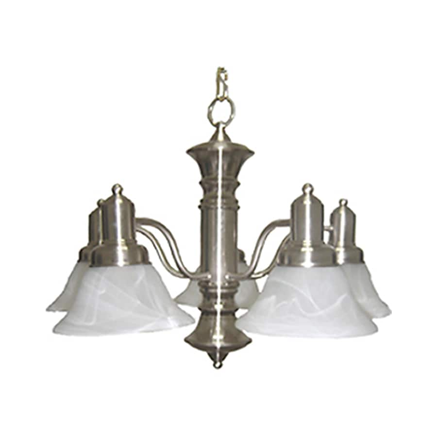 Pyramid Creations Newburg 24.75-in 5-Light Satin Nickel Tinted Glass Chandelier