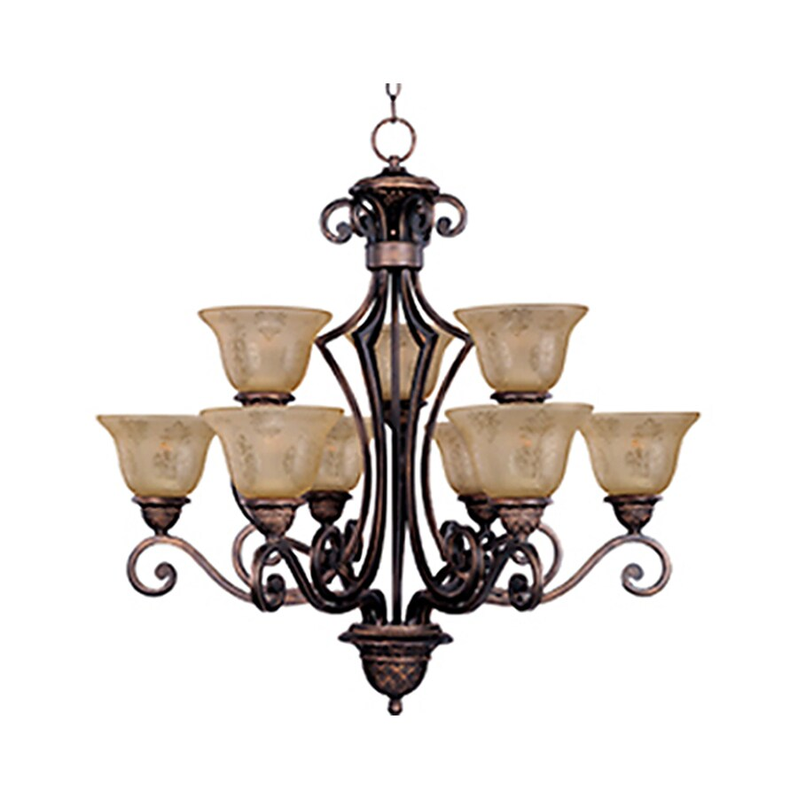 Pyramid Creations Symphony 32-in 9-Light Oil-Rubbed bronze Tinted Glass Chandelier