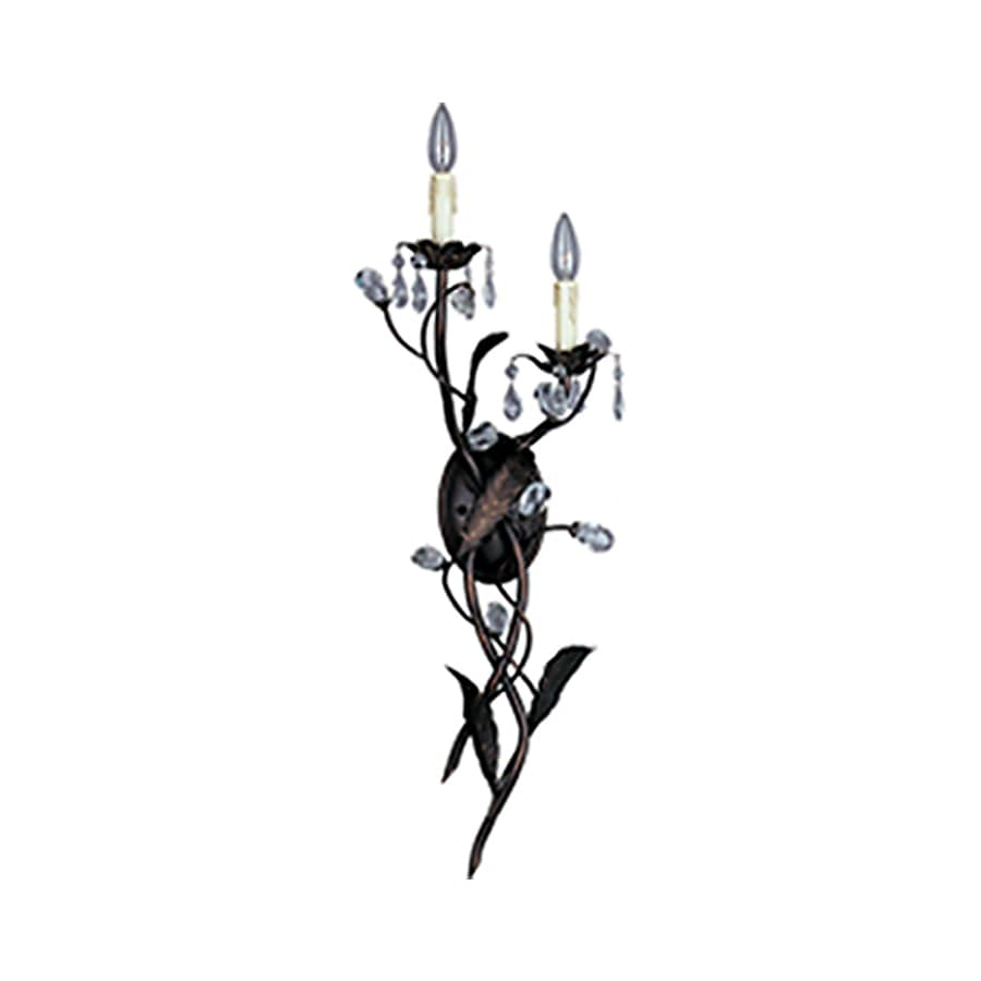 Pyramid Creations Grove 10-in W 2-Light Bronze Arm Hardwired Wall Sconce