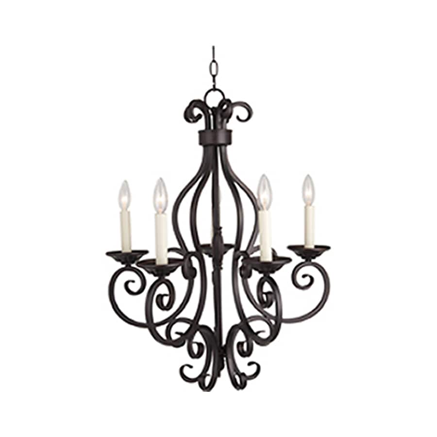 Pyramid Creations Manor 26-in 5-Light Oil-Rubbed Bronze Chandelier