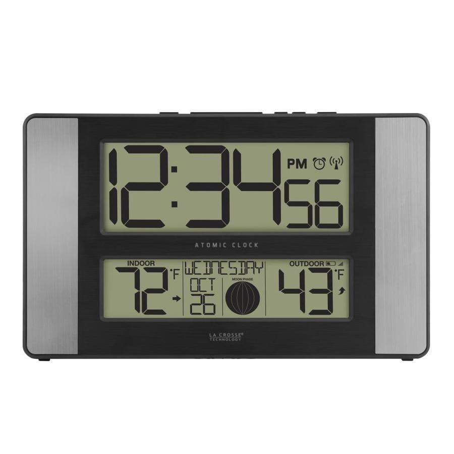 La Crosse Technology Digital Atomic Rectangle Indoor Tabletop Combination  Clock With Alarm