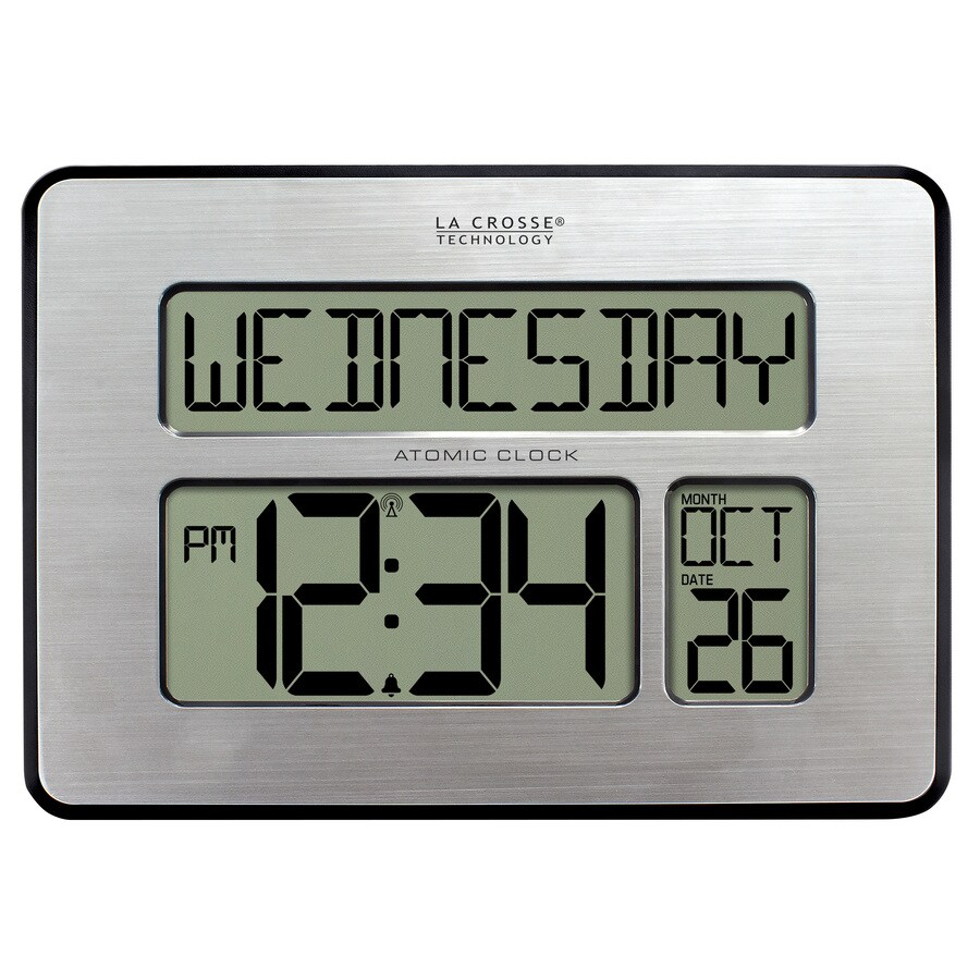 La Crosse Technology Digital Atomic Rectangle Indoor Tabletop Combination Clock with Alarm