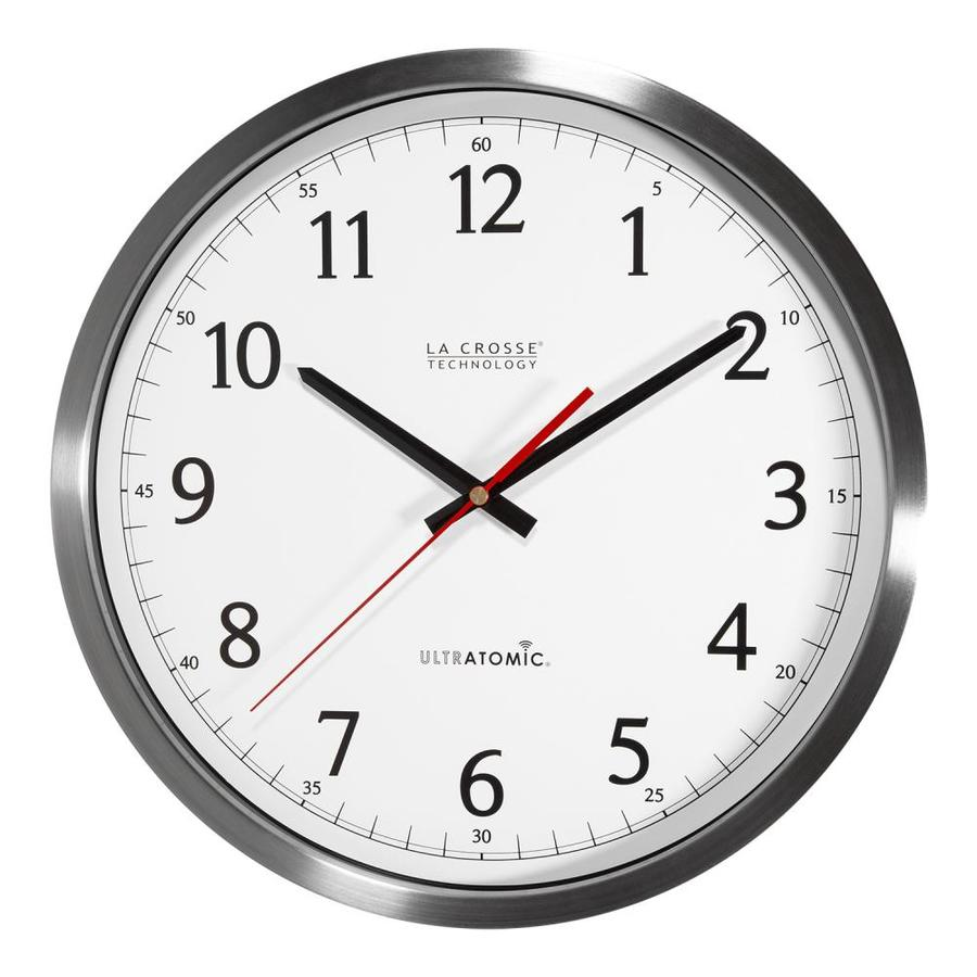 Shop clocks at lowes la crosse technology analog atomic round indoor wall standard clock amipublicfo Image collections