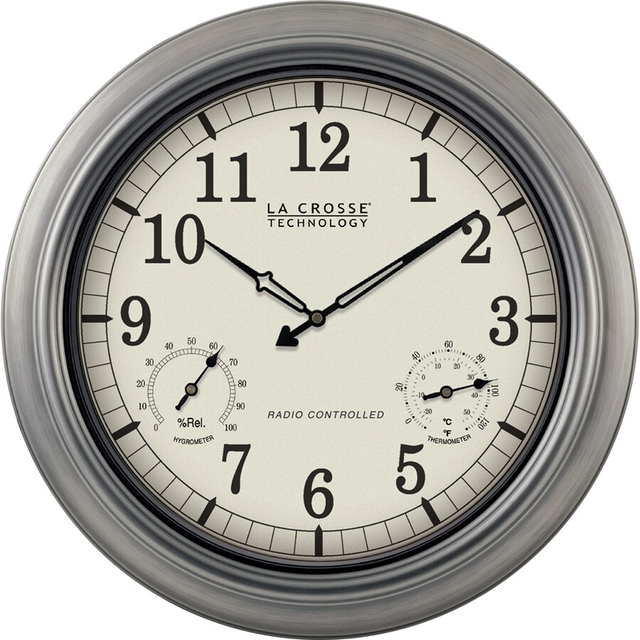 La Crosse Technology Analog Atomic Round Indoor Wall Combination Clock