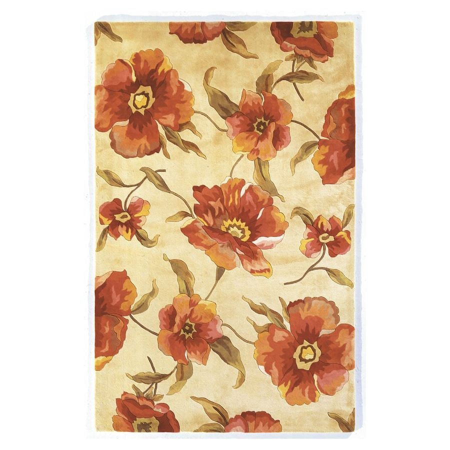KAS Rugs Elegant Florals Ivory Rectangular Indoor Handcrafted Area Rug (Common: 8 x 11; Actual: 8-ft W x 10.50-ft L)