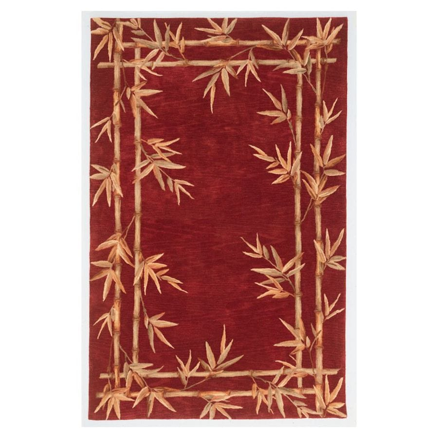 KAS Rugs Floral Trends Red Rectangular Indoor Tufted