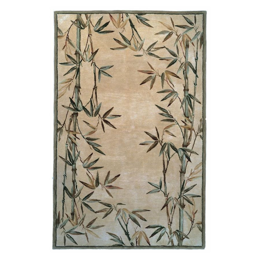 KAS Rugs Floral Trends Ivory Rectangular Indoor Tufted Tropical Area Rug (Common: 8 x 10; Actual: 93-in W x 114-in L)