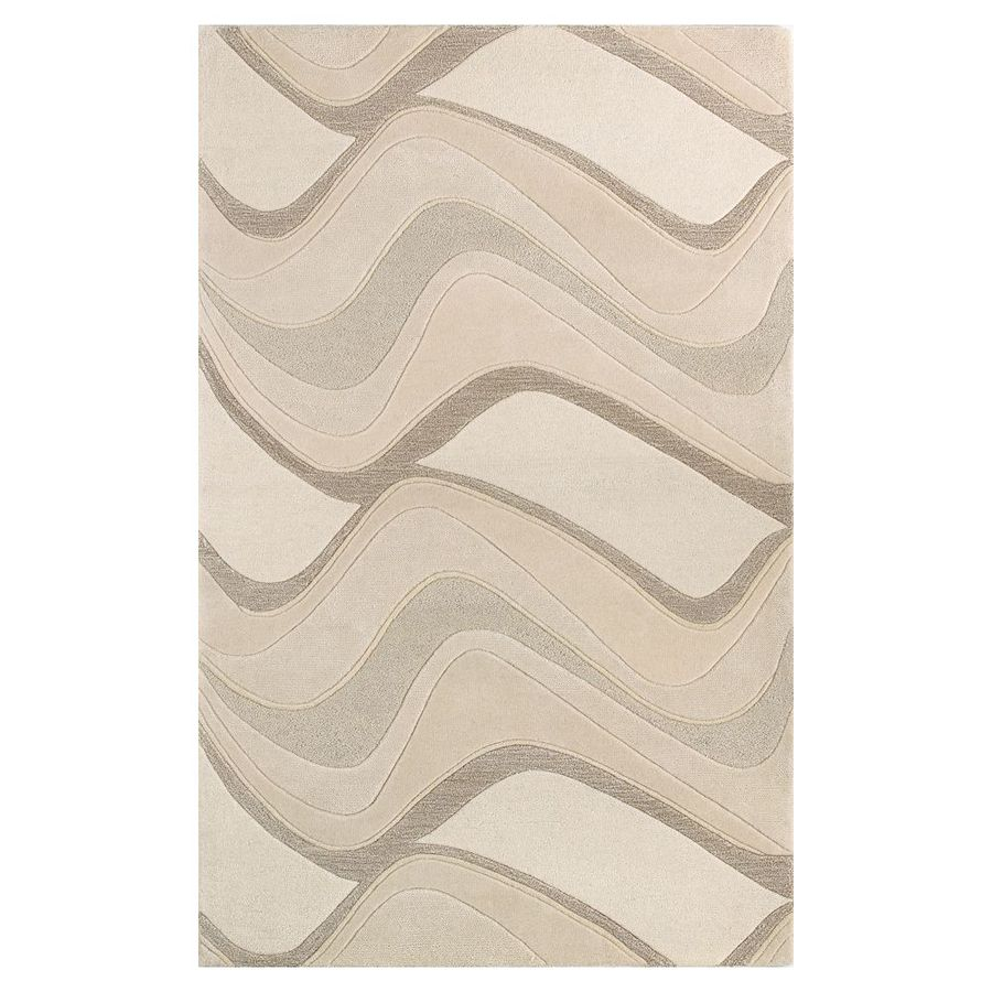 KAS Rugs Textures of Life Ivory Rectangular Indoor Handcrafted Throw Rug (Common: 2 x 4; Actual: 2.25-ft W x 3.75-ft L)