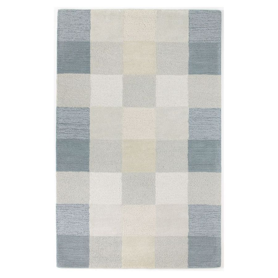 KAS Rugs Textures Of Life Blue Rectangular Indoor Tufted Area Rug (Common: 5 x 8; Actual: 60-ft W x 96-ft L)