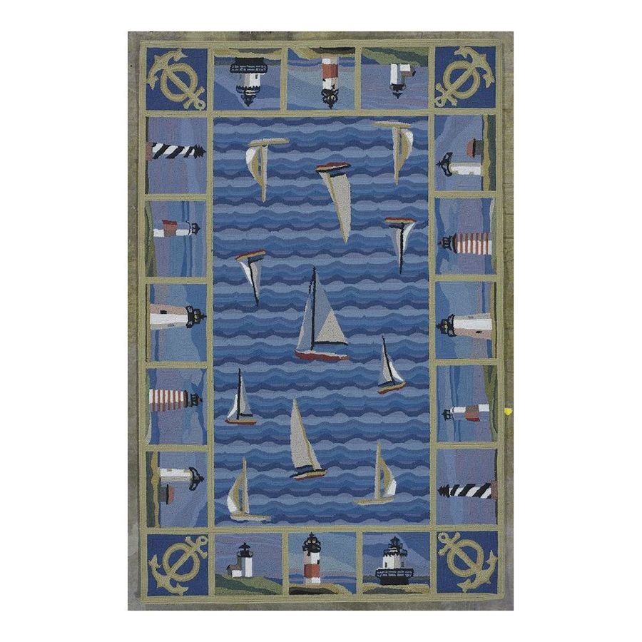 KAS Rugs Classy Casual Blue Rectangular Indoor Hand-Hooked Novelty Area Rug (Common: 5 x 8; Actual: 63-ft W x 99-ft L)