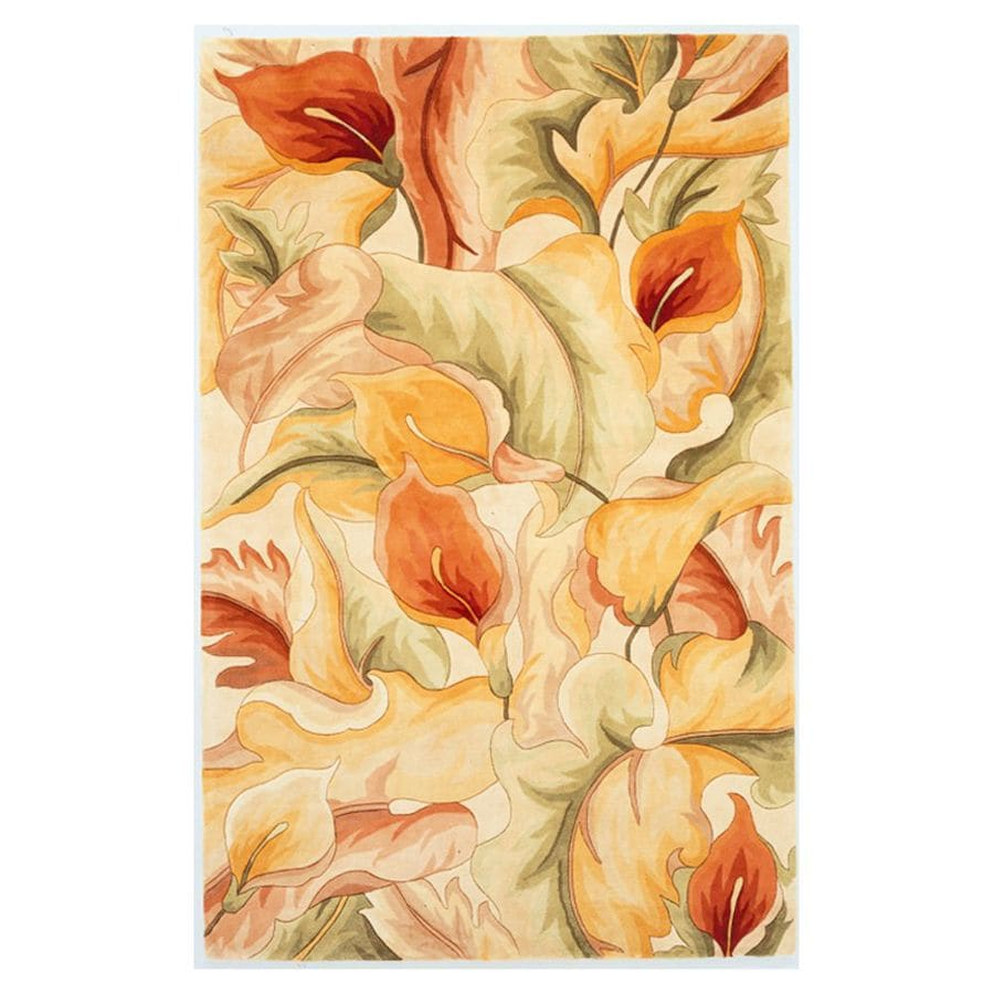 KAS Rugs Elegant Florals Ivory Rectangular Indoor Tufted Area Rug (Common: 8 x 11; Actual: 96-ft W x 126-ft L)