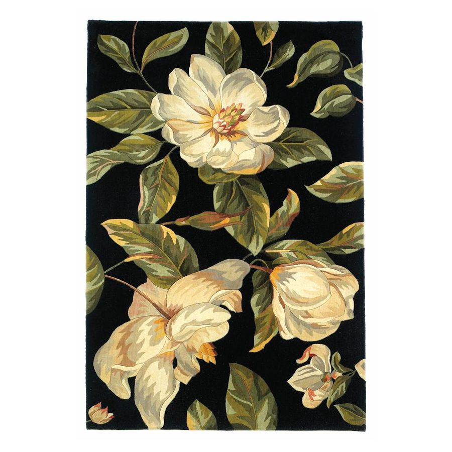 KAS Rugs Elegant Florals Black Rectangular Indoor Tufted Area Rug (Common: 5 x 8; Actual: 60-in W x 96-in L)