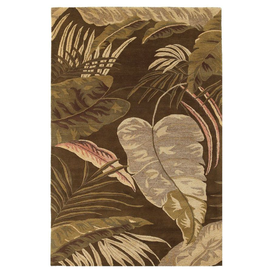 KAS Rugs Floral Chic Brown Rectangular Indoor Tufted Tropical Area Rug (Common: 5 x 8; Actual: 60-in W x 96-in L)