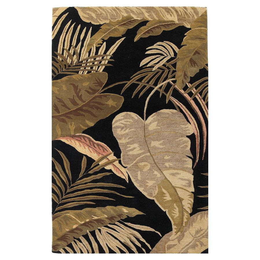 KAS Rugs Floral Chic Black Rectangular Indoor Tufted Tropical Area Rug (Common: 8 x 10; Actual: 96-in W x 126-in L)
