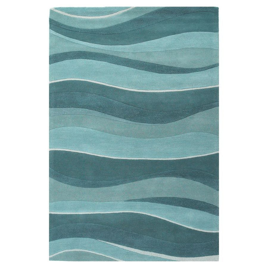 KAS Rugs Textures Of Life Blue Rectangular Indoor Tufted Area Rug (Common: 8 x 11; Actual: 96-in W x 126-in L)