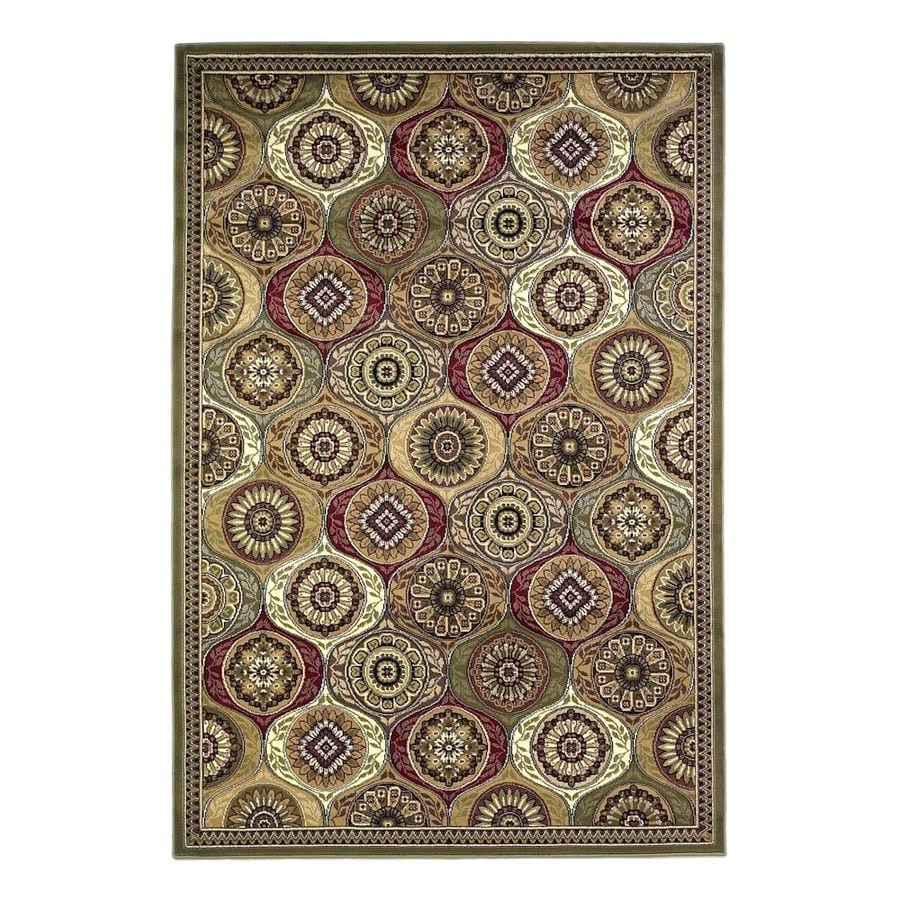 KAS Rugs Tile Works Green Rectangular Indoor Woven Oriental Area Rug (Common: 10 x 13; Actual: 118-ft W x 146-ft L)