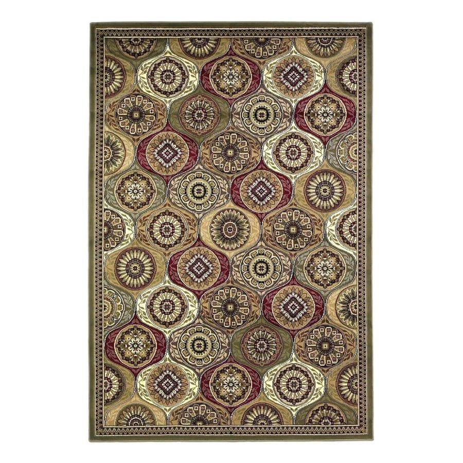 KAS Rugs Tile Works Green Rectangular Indoor Woven Oriental Area Rug (Common: 10 x 13; Actual: 118-in W x 146-in L)