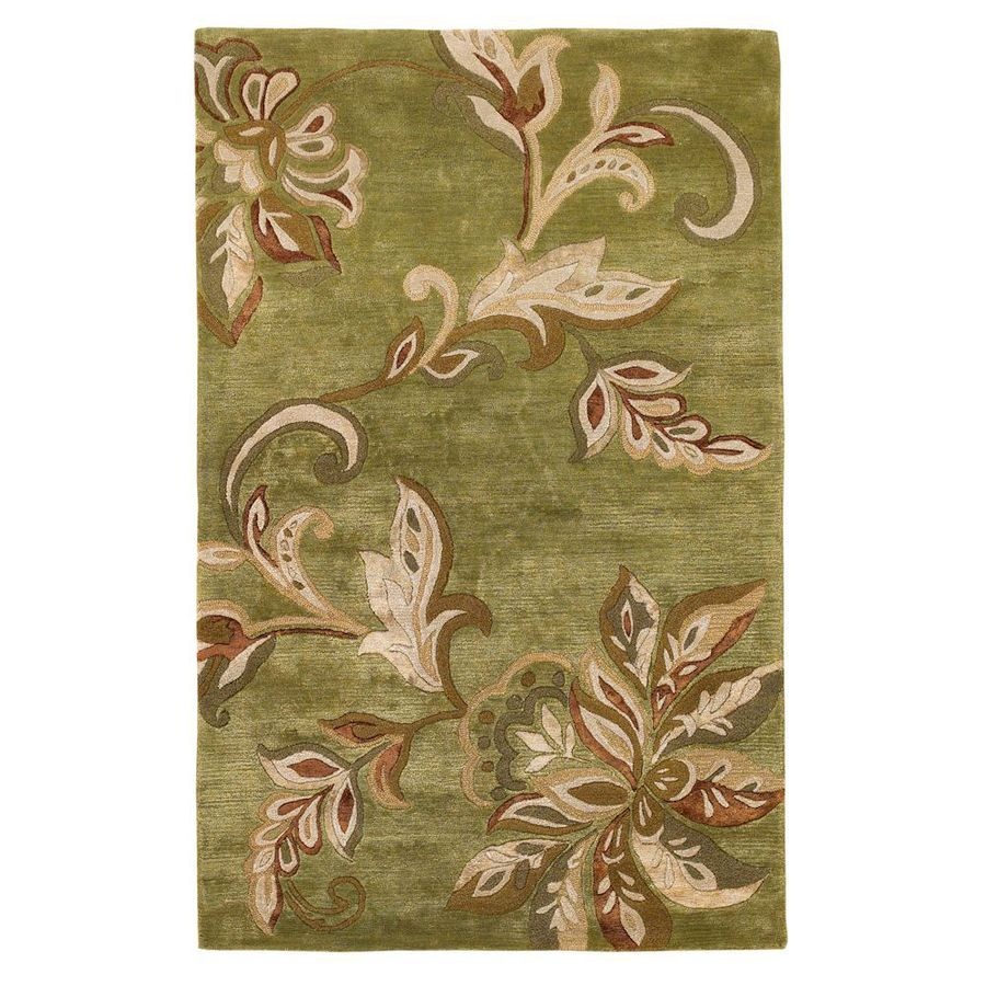 KAS Rugs Florentine Green Rectangular Indoor Handcrafted Area Rug (Common: 8 x 10; Actual: 8-ft W x 10-ft L)