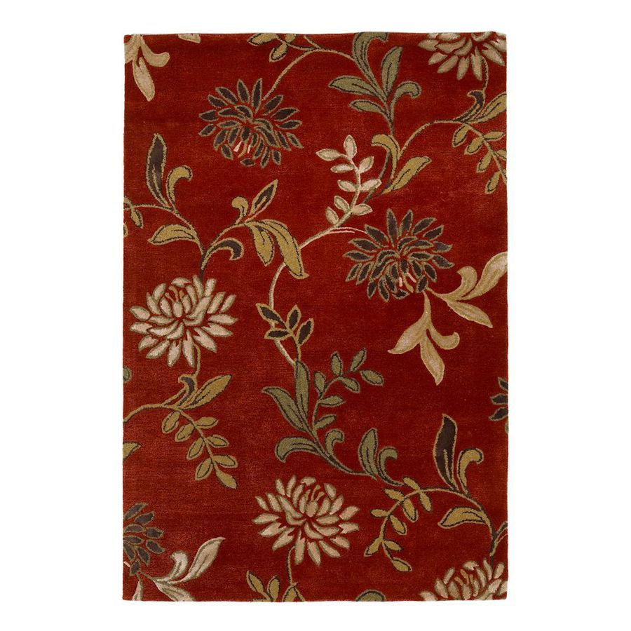 KAS Rugs Florentine Red Rectangular Indoor Handcrafted Area Rug (Common: 5 x 8; Actual: 5-ft W x 8-ft L)