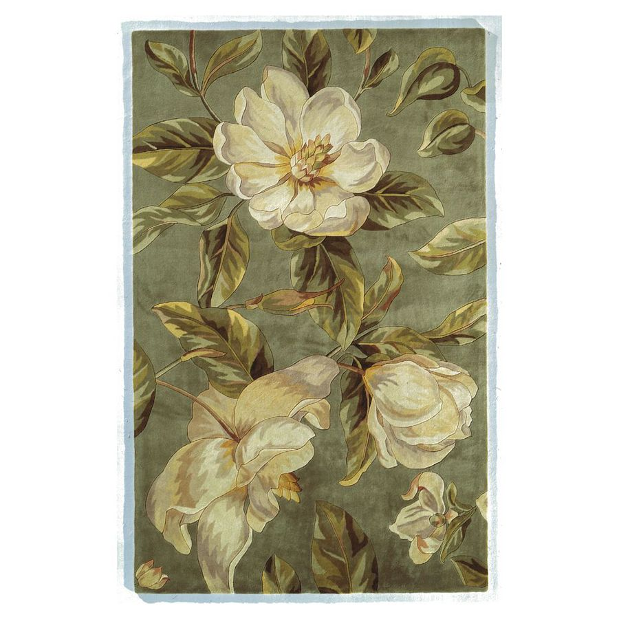 KAS Rugs Elegant Florals Green Rectangular Indoor Tufted Throw Rug (Common: 3 x 5; Actual: 39-in W x 63-in L)