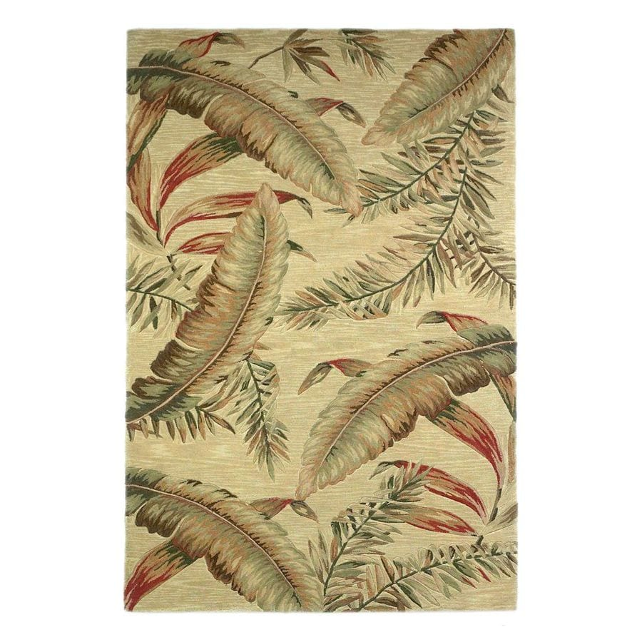 KAS Rugs Floral Trends Ivory Rectangular Indoor Tufted Tropical Area Rug (Common: 9 x 12; Actual: 102-in W x 138-in L)