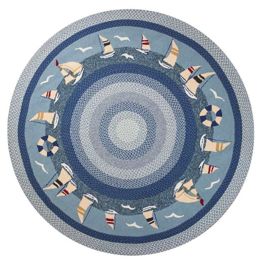 KAS Rugs Shabby Chic Blue Round Indoor/Outdoor Hand-Hooked Area Rug (Common: 8 x 8; Actual: 90-ft W x 90-ft L)