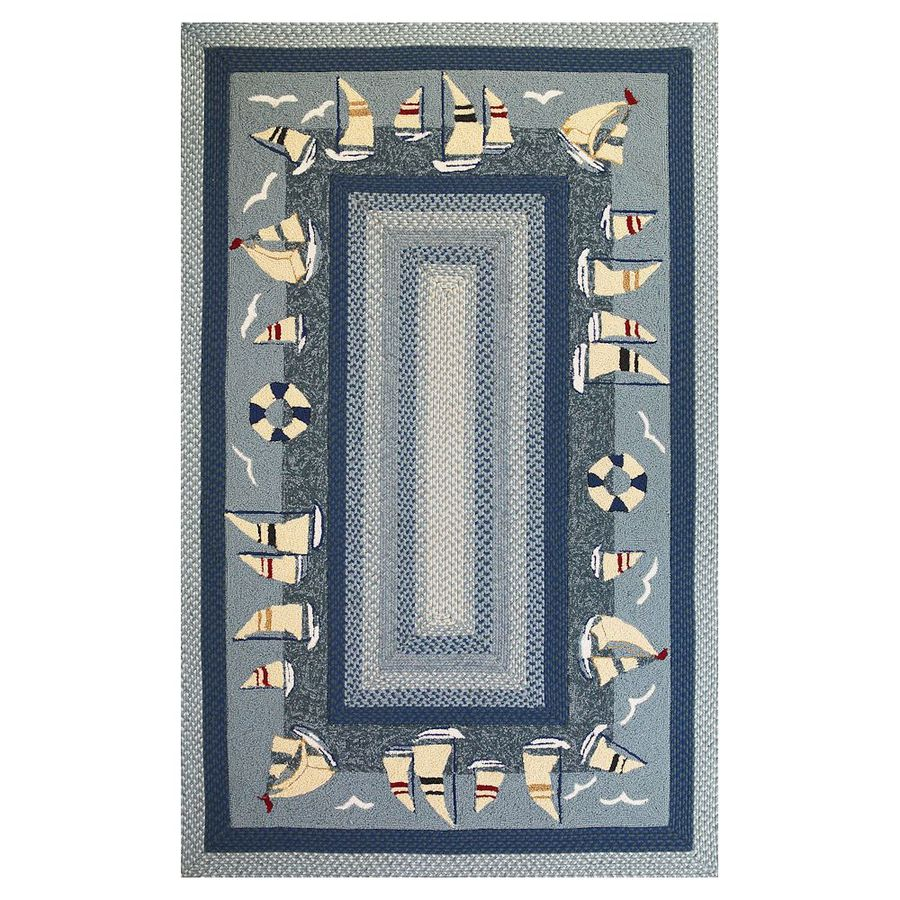 KAS Rugs Shabby Chic Blue Rectangular Indoor/Outdoor Hand-Hooked Area Rug (Common: 8 x 10; Actual: 90-ft W x 114-ft L)