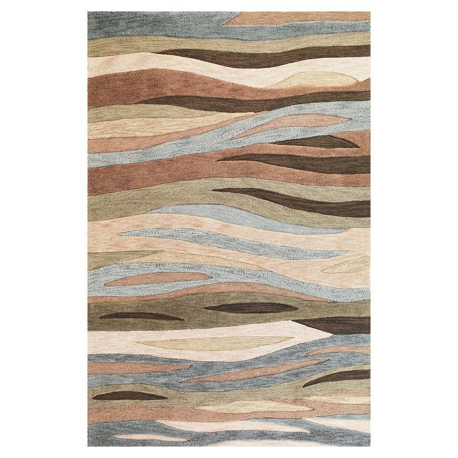 KAS Rugs Trend Setter Green Rectangular Indoor Handcrafted Area Rug (Common: 8 x 10; Actual: 7.75-ft W x 9.75-ft L)