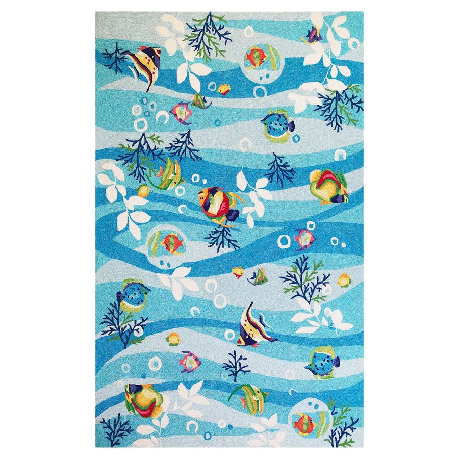 KAS Rugs Flirty Trends Blue Rectangular Indoor Hand-Hooked Coastal Throw Rug (Common: 2 x 3; Actual: 20-in W x 30-in L)
