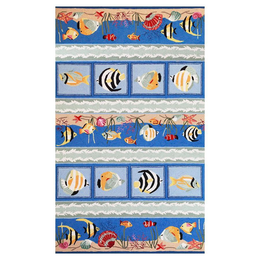 KAS Rugs Flirty Trends Blue Rectangular Indoor Hand-Hooked Coastal Throw Rug (Common: 2 x 4; Actual: 27-in W x 45-in L)