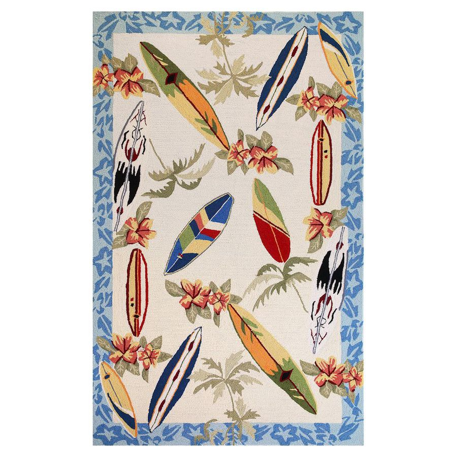 KAS Rugs Flirty Trends Ivory Rectangular Indoor Hand-Hooked Coastal Area Rug (Common: 5 x 8; Actual: 60-ft W x 90-ft L)