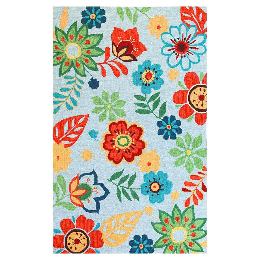KAS Rugs Flirty Trends Blue Rectangular Indoor Hand-Hooked Coastal Area Rug (Common: 8 x 10; Actual: 90-ft W x 114-ft L)