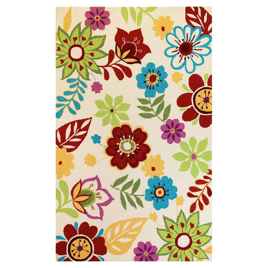 KAS Rugs Flirty Trends Ivory Rectangular Indoor Hand-Hooked Coastal Area Rug (Common: 8 x 10; Actual: 90-in W x 114-in L)