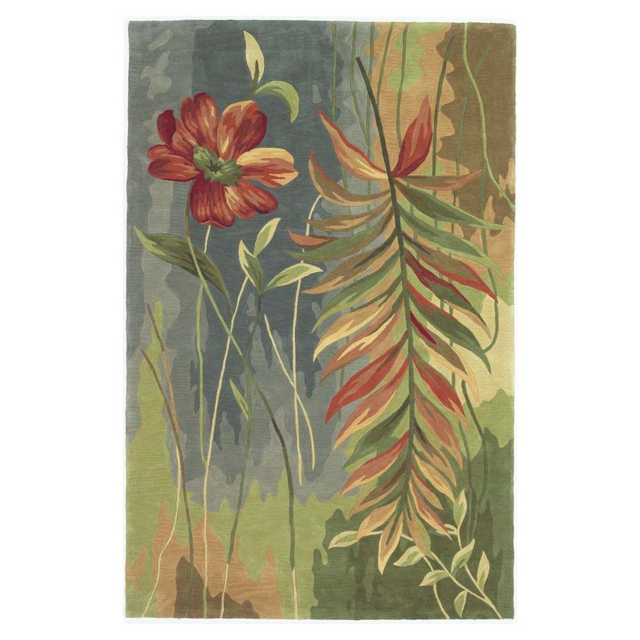 KAS Rugs Floral Trends Multicolor Rectangular Indoor Tufted Tropical Area Rug (Common: 5 x 8; Actual: 63-in W x 99-in L)
