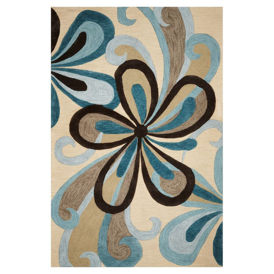 KAS Rugs Trend Setter Blue Rectangular Indoor Handcrafted Area Rug (Common: 5 x 7; Actual: 5-ft W x 7.50-ft L)