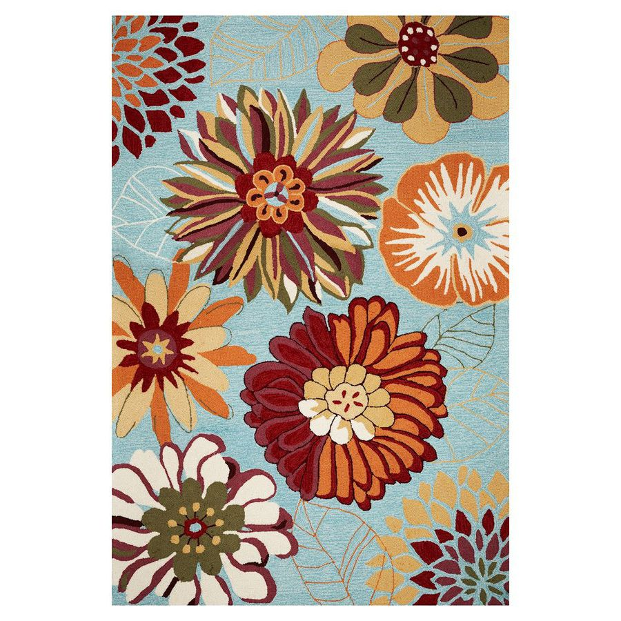 KAS Rugs Flirty Trends Blue Rectangular Outdoor Hand-Hooked Coastal Area Rug (Common: 5 x 8; Actual: 60-ft W x 90-ft L)